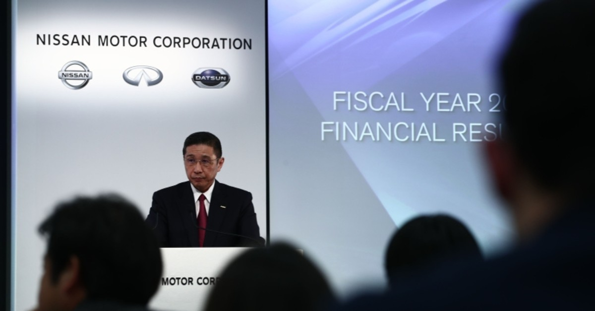 Nissan Motors president and CEO Hiroto Saikawa speaks during a press conference to announce the companyu2019s 2019 financial results at its headquarters in Yokohama on May 14, 2019. (AFP Photo)