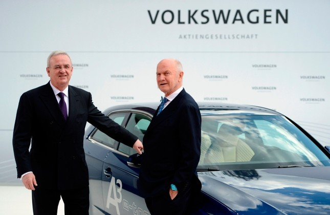 In this file photo taken on April 23, 2012, then Volkswagen CEO Martin Winterkorn L and then chairman of the supervisory board of Ferdinand Piech pose next to an Audi A3 electric car at the VW plant in Wolfsburg, Germany. AFP Photo