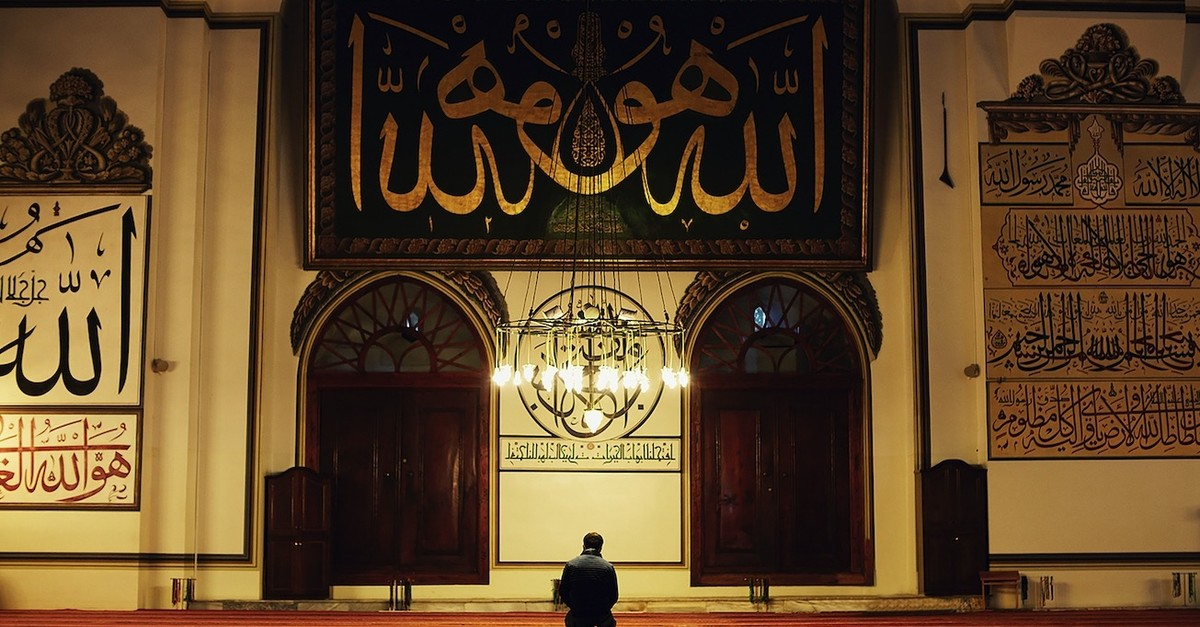 A man praying in the Great Mosque in Bursa, western Turkey.