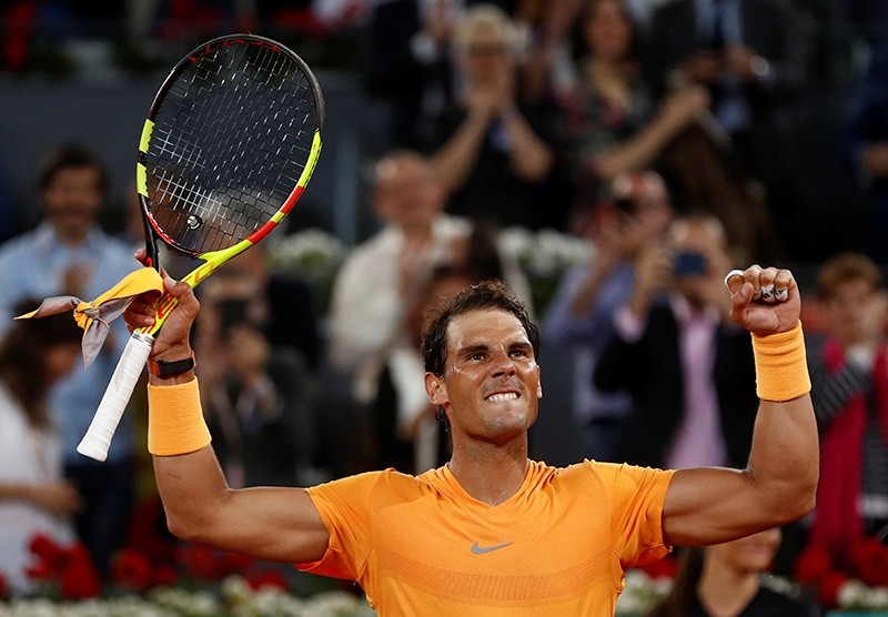 Spain's Rafael Nadal celebrates winning his third round match against Argentina's Diego Schwartzman at the Madrid Open on May 10, 2018. (Reuters Photo)