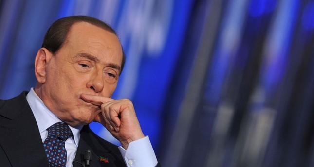 Italian former Prime Minister Silvio Berlusconi attending the Porta a Porta TV show at the Rai 1 headquarters.  (AFP Photo)