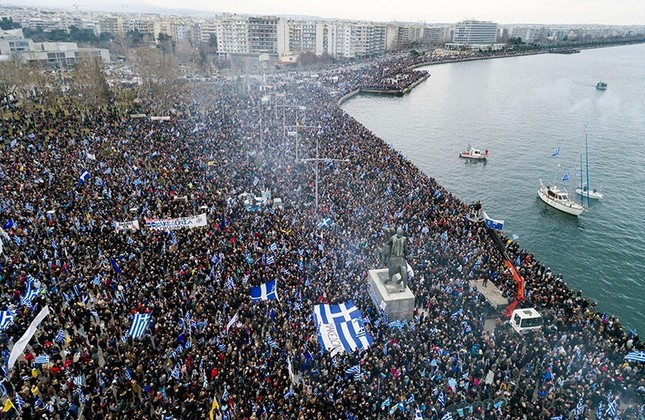 Thousands of protesters take part in a rally against the use of the term Macedonia for the northern neighboring country's name, at the northern Greek city of Thessaloniki, Jan. 21, 2018. (AP Photo)