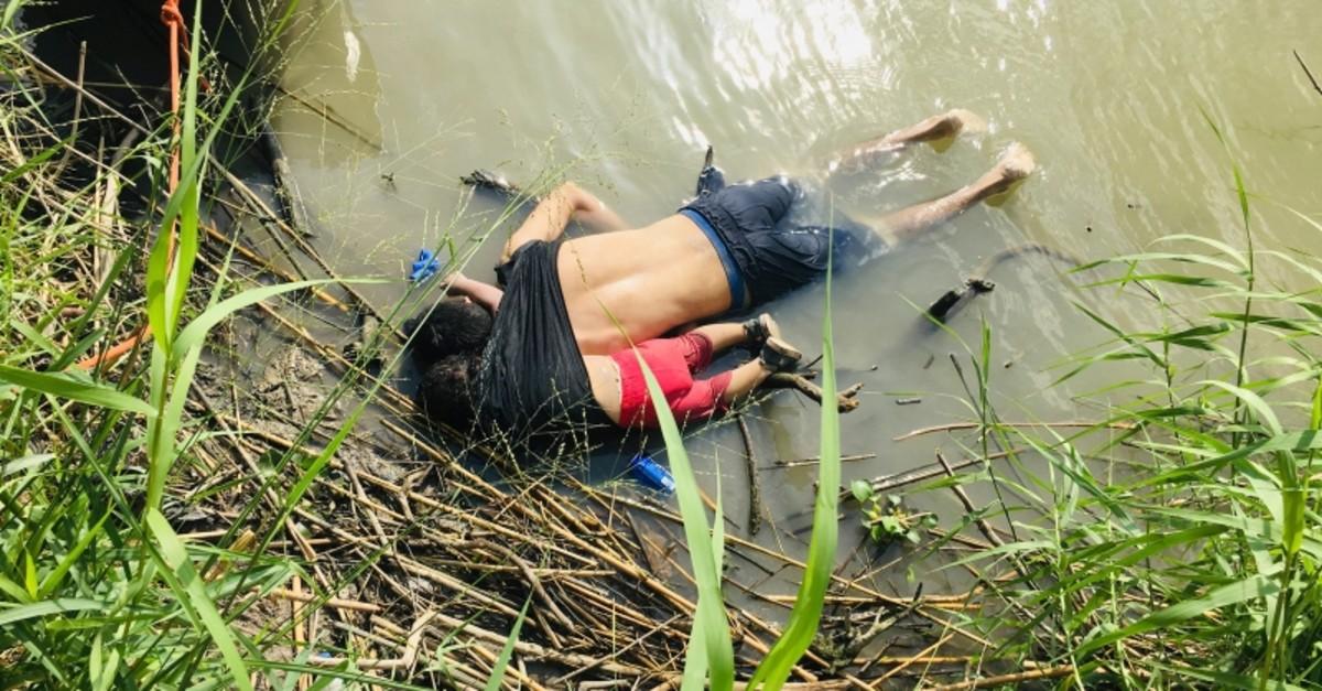 The bodies of Salvadoran migrant Oscar Alberto Martu00ednez Ramu00edrez and his nearly 2-year-old daughter Valeria lie on the bank of the Rio Grande in Matamoros, Mexico, Monday, June 24, 2019. (AP Photo/Julia Le Duc)