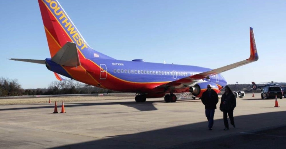 In this Jan. 13, 2014, file photo, Southwest Airlines Flight 4013 sits at the M. Graham Clark Downtown Airport in Hollister, Mo. (AP Photo)