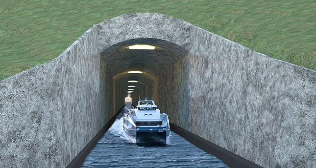 """This file photo taken on April 12, 2013 shows a handout computer generated picture released by Nordfjord Vekst showing the so-called Stad Ship Tunnel, the """"world's first shipping tunnel"""" being planned on the Stad peninsula in Norway. (AFP Photo)"""