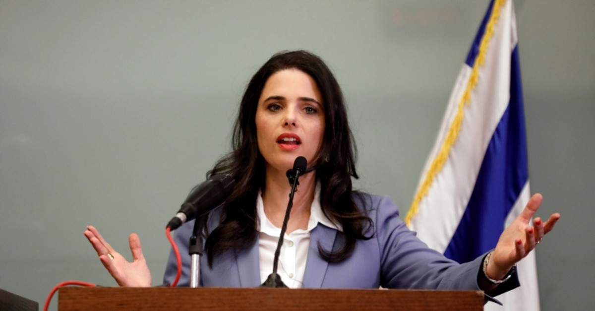 Israeli Justice Minister Ayelet Shaked delivers a statement to members of the media, at the Knesset (Reuters File Photo)