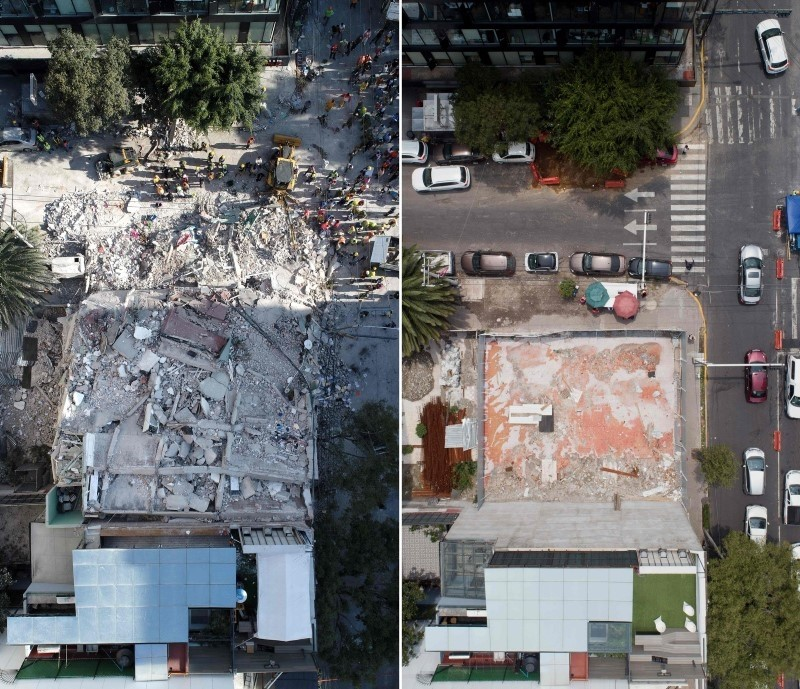 This combination of aerial pictures show a file picture taken on Sept.19, 2017 (top) of rescuers, firefighters, policemen and volunteers searching for survivors in a flattened building in Mexico City and the same place on Sept. 10, 2018. (AFP Photo)