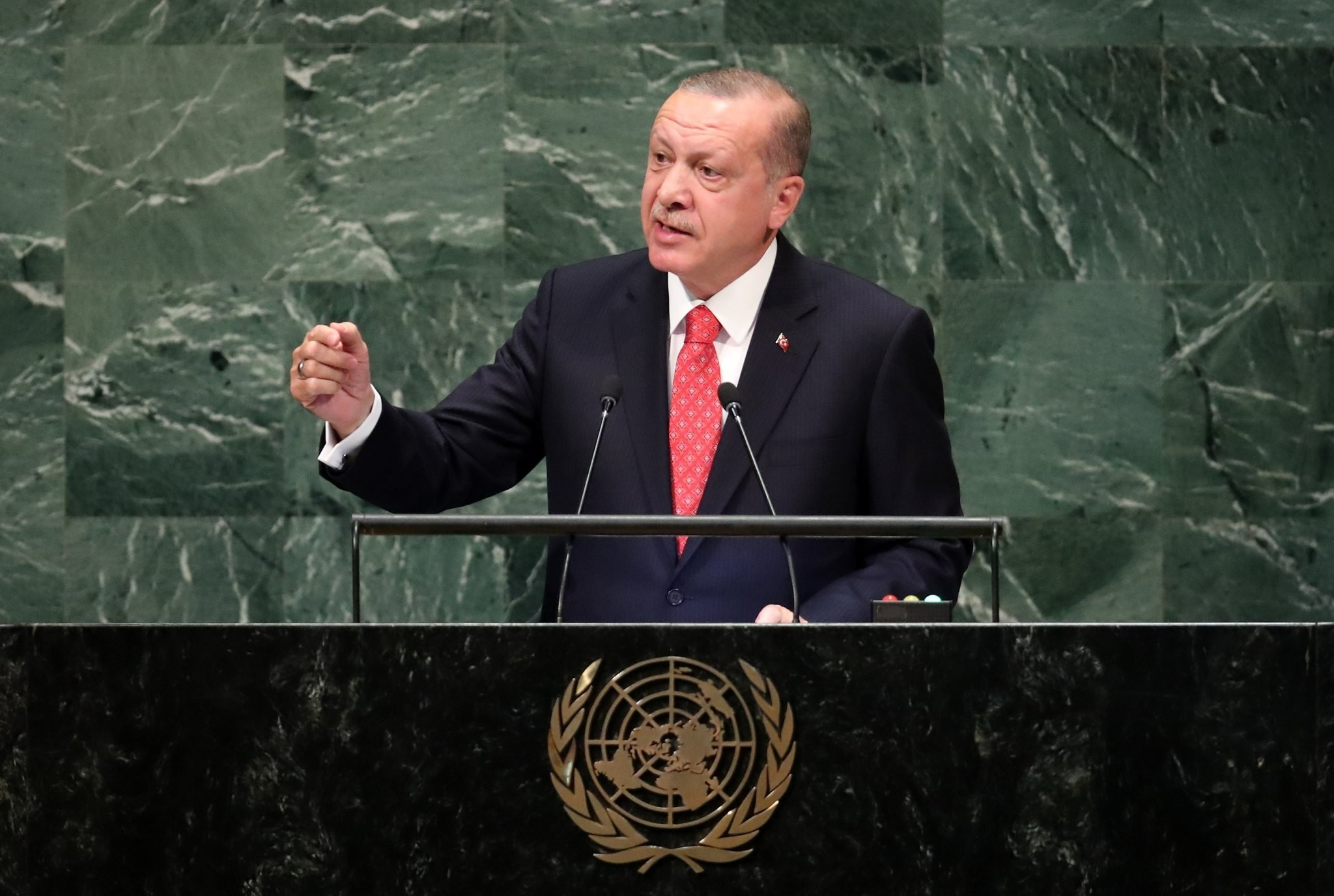 President Recep Tayyip Erdou011fan addresses the 73rd session of the United Nations  General Assembly at the U.N. headquarters in New York, Sept. 25.