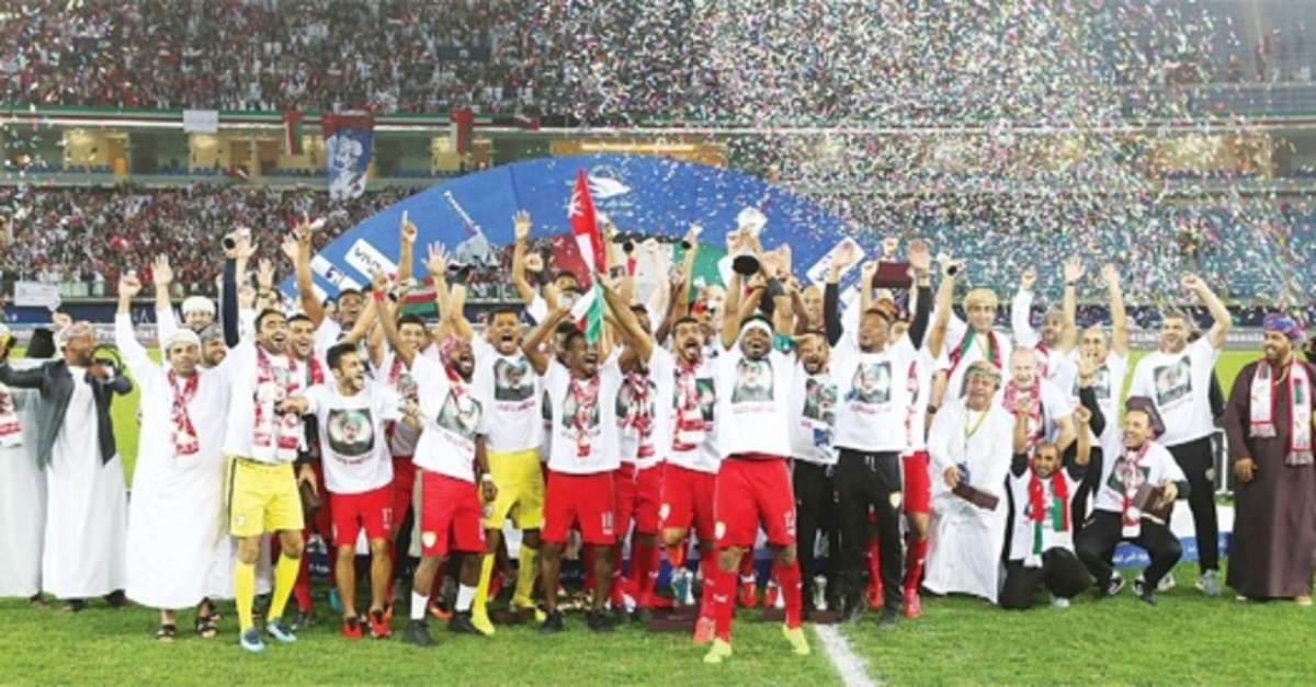 Omanu2019s players celebrate after winning the Gulf Cup of Nations 2017 final football match between Oman and the UAE in Kuwait City on Jan 5. (AFP Photo)