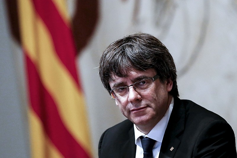Catalan regional government president Carles Puigdemont attending a regional government meeting at the Generalitat Palace in Barcelona (AFP File Photo)
