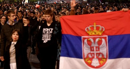 pThousands of protesters, mainly students, rallied for the third straight night in Belgrade on Wednesday to protest against the overwhelming victory of Prime Minister Aleksandar Vucic in a weekend...