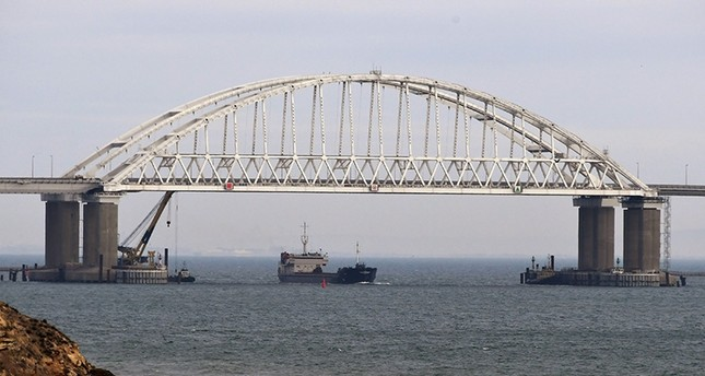 View of a bridge over Kerch Strait, connecting Crimea and Russia, Nov. 26, 2018. (EPA Photo)