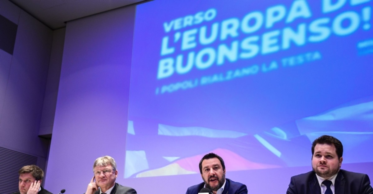 Member of the Finnish Finns party Olli Kotro, Federal spox for AfD Joerg Meuthen, Fed. Sec. of Italy's Northern League Matteo Salvini and member of Denmark's People's Party, Anders Primdahl Vistisen attend meeting of European nationalists (AFP Photo)