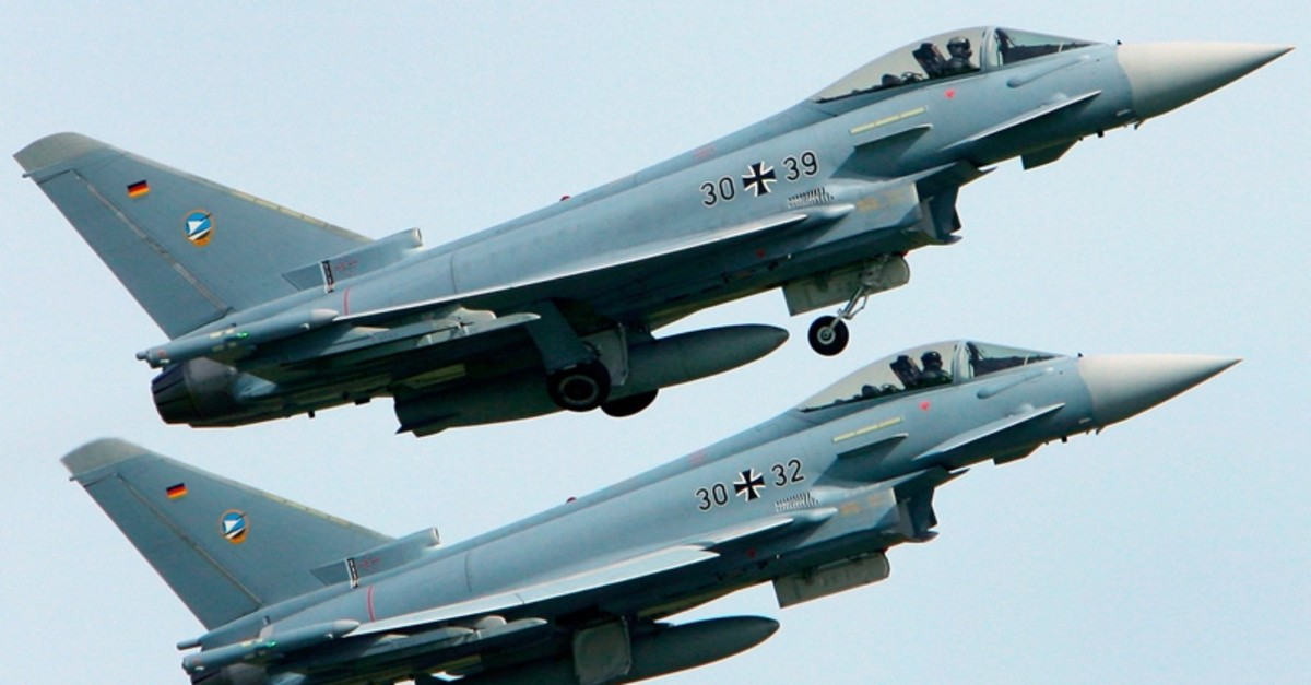In this May 30, 2008 file photo, two Eurofighter military planes start at their base in Laage, Germany. Two German Eurofighter planes crashed today near the city of Jabel in eastern Germany. (AP Photo)