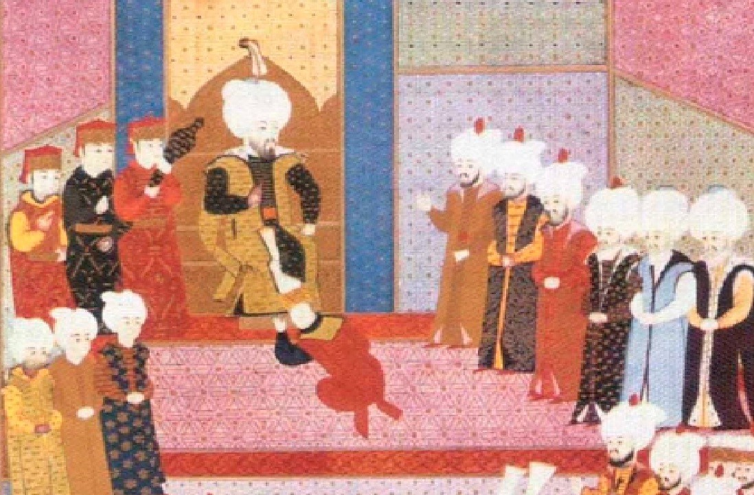 A painting by an anonymous artist portrays the succession ceremony of the Ottoman Sultan Bayezid II.