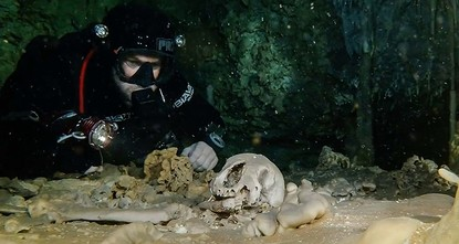 pArcheologists who have been exploring the world's largest underwater cave — recently discovered in Mexico — presented their findings Monday, including fossils of giant sloths and an...