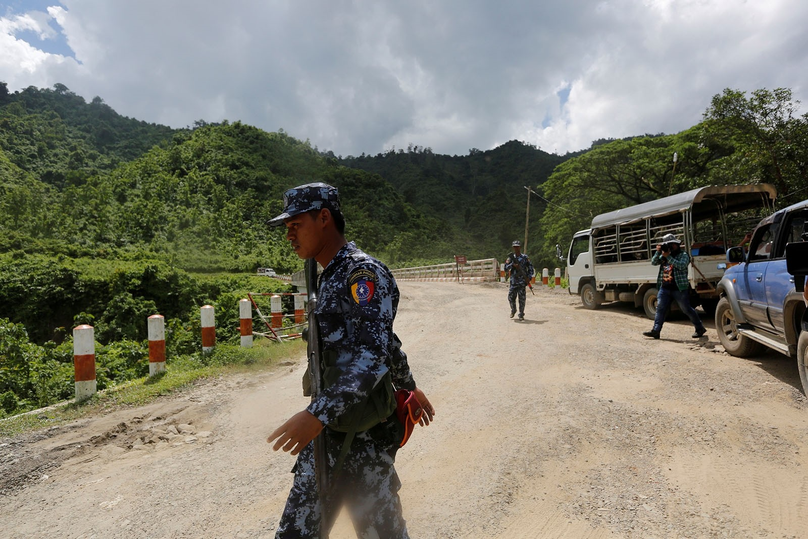 Police guard near a bridge after Arakan Rohingya Salvation Army (ARSA) attacked, in Buthidaung, Myanmar August 28, 2017.