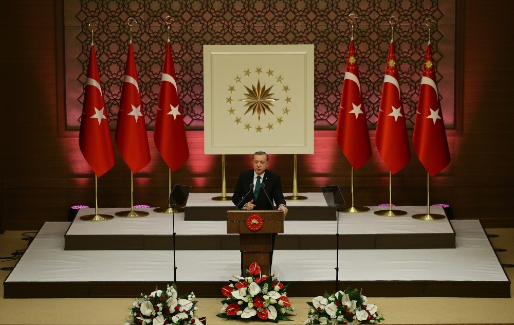 President Erdou011fan speaking at an awards ceremony held by the Turkish Academy of Sciences at Ankara's presidential complex on Feb. 1.