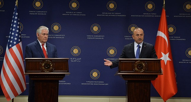 Foreign Minister Çavuşoğlu at a joint news conference with U.S. Secretary of State Rex Tillerson in this file photo from March 3, 2017 (AA Photo)