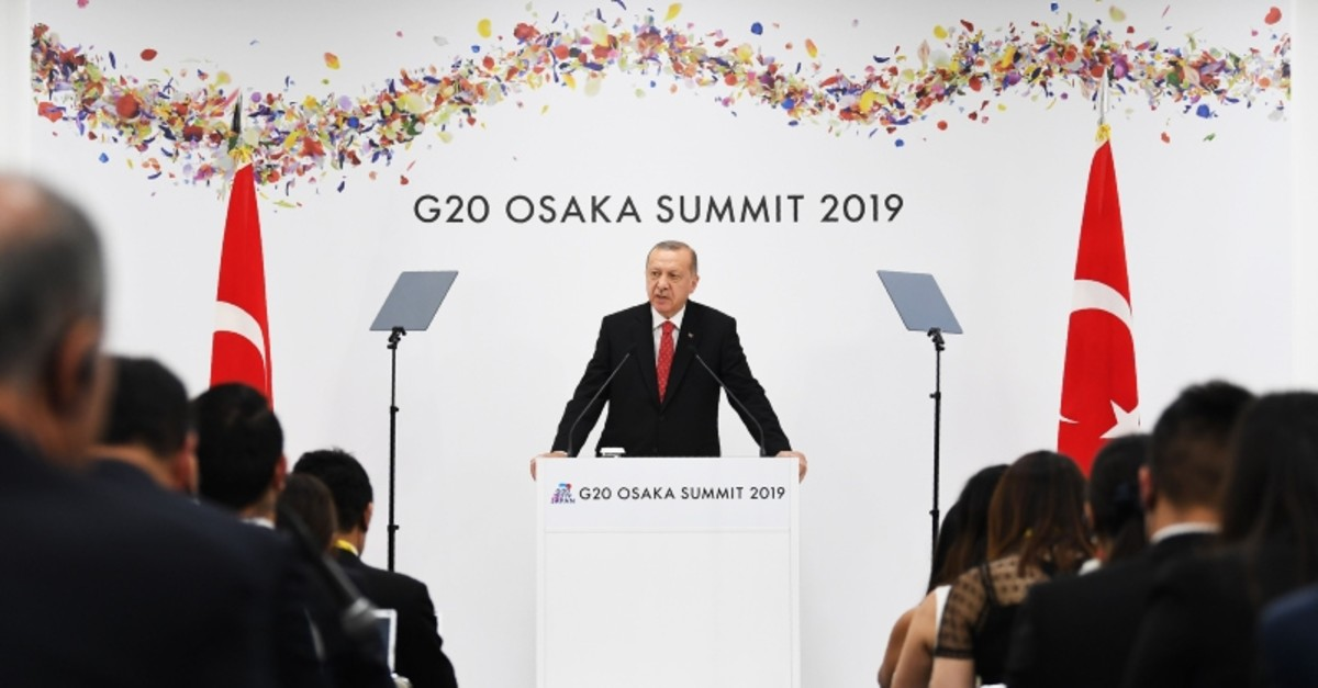 President Recep Tayyip Erdogan speaks at a press conference following the G20 Osaka Summit in Osaka on June 29, 2019 (AFP Photo)