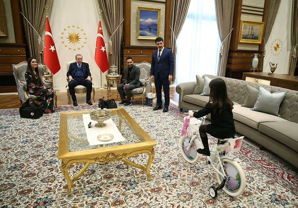 Irmak Ayu015fe Istek, 4, enjoys a bike ride at the Presidential Palace, where she met with President Recep Tayyip Erdou011fan on January 22, 2018. (IHA Photo)