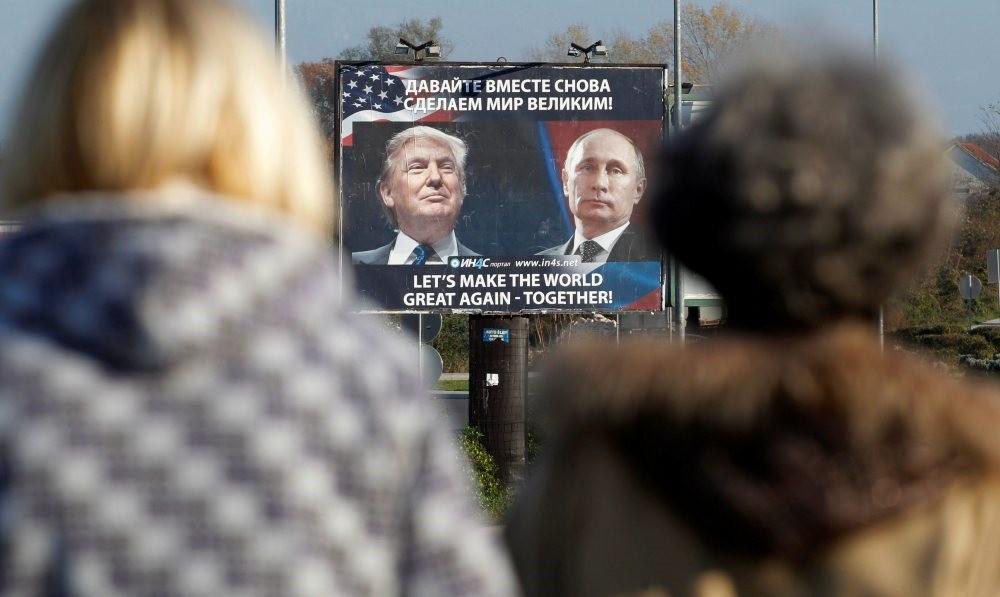 A billboard shows Presidents Trump and Putin, Danilovgrad, Montenegro, Nov. 16, 2016.