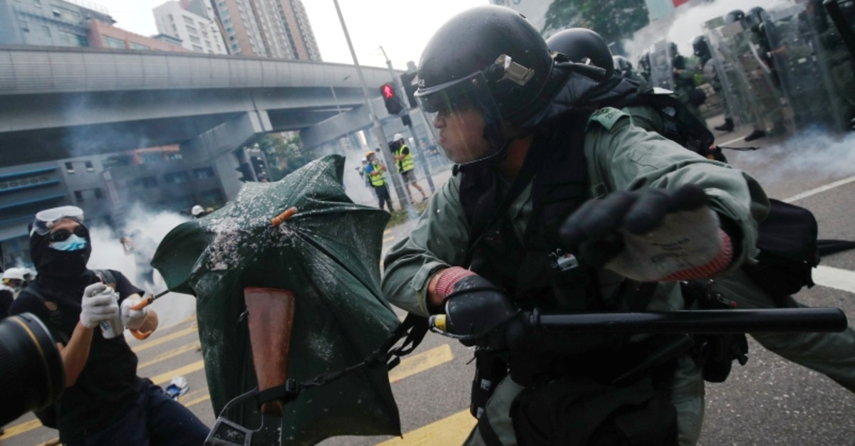 Demonstrators clash with police during a protest against the Yuen Long attacks in Yuen Long, New Territories, Hong Kong, China July 27, 2019. (REUTERS Photo)