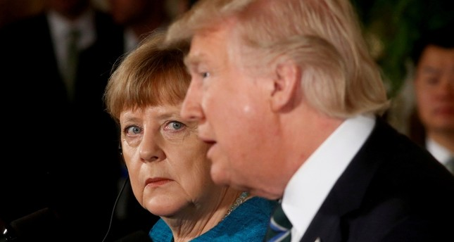 Germany's Chancellor Angela Merkel and U.S. President Donald Trump hold a joint news conference in the East Room of the White House in Washington, U.S., March 17, 2017. (Reuters Photo)