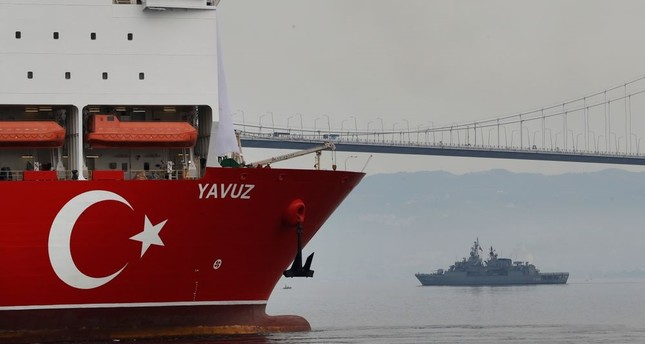 Second drilling vessel Yavuz escorted by a Turkish Navy vessel, crosses the Marmara Sea on its way to the Mediterranean, June 20, 2019.
