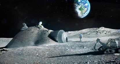 pBy 2040, 100 people will live on the moon, melting ice for water, 3D-printing homes and tools, eating plants grown in lunar soil, and competing in low-gravity flying sports./p