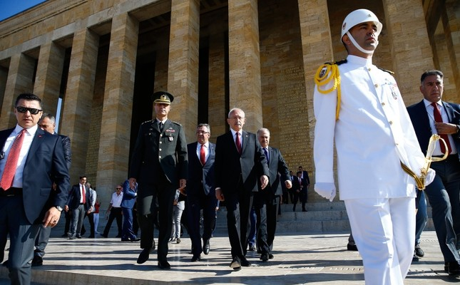 CHP Chairman Kemal Kılıçdaroğlu CR leaves the mausoleum of the Republic's founding leader Mustafa Kemal Atatürk located at the Anıtkabir in Ankara following a ceremony to mark the party's 96th anniversary, in Ankara, September 9, 2019. AA Photo