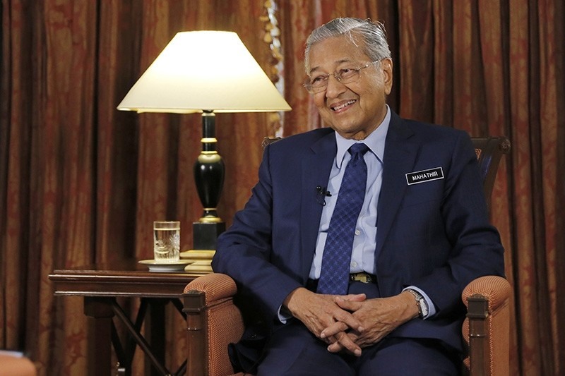 Malaysia's Prime Minister Mahathir Mohamad is interviewed in Putrajaya, Malaysia, Monday, Aug. 13, 2018. (AP Photo)