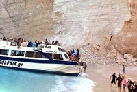 7 tourists injured as cliff collapses at popular Greek beach