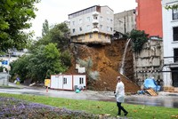 Building left hanging after landslide collapses in Istanbul neighborhood