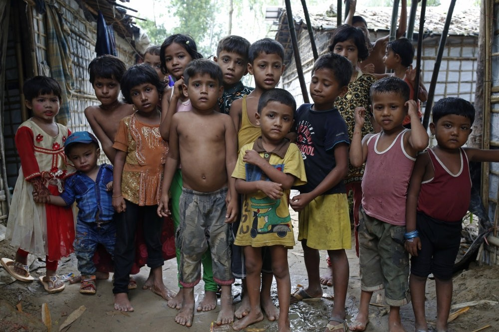 A group of Rohingya refugee children stand at a makeshift camp in Teknaf, Cox's Bazar, Aug. 24.