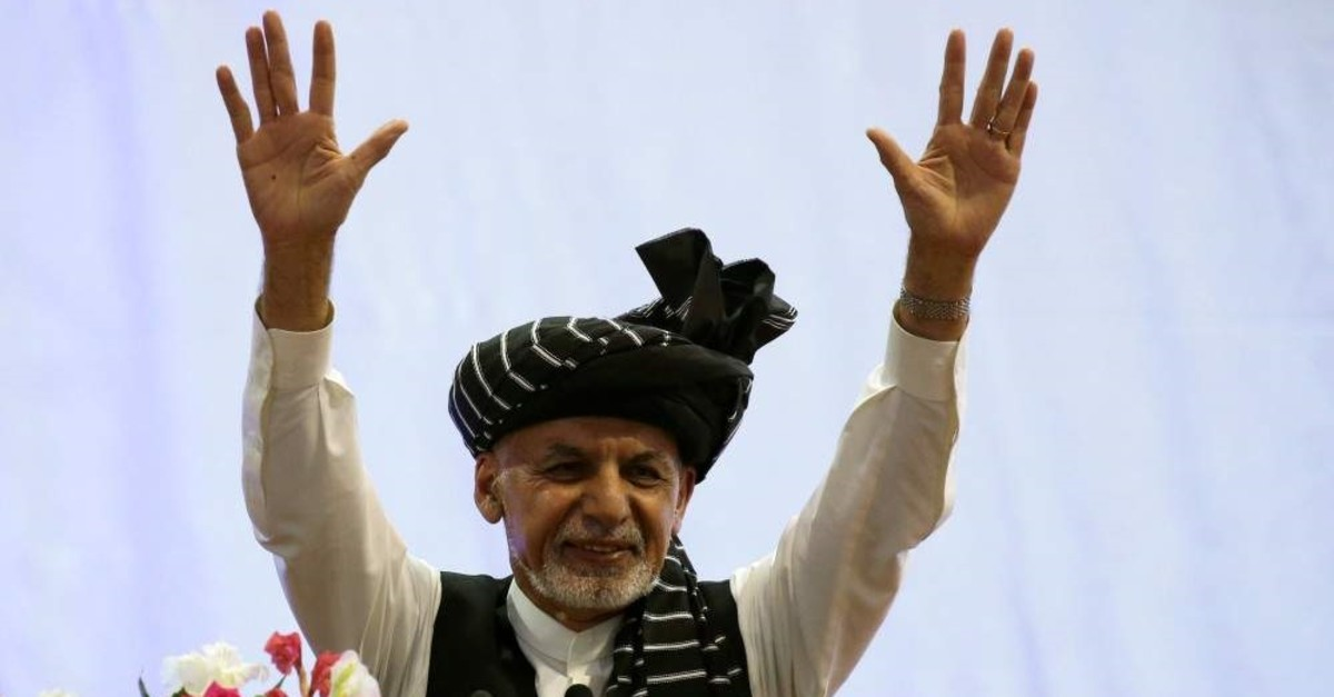 Afghan presidential candidate Ashraf Ghani gestures during his election campaign rally in Kabul, Afghanistan Sept.13, 2019. (Reuters Photo)