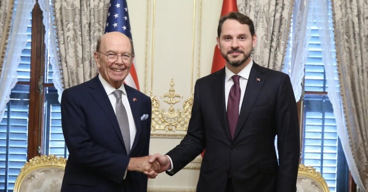 Treasury and Finance Minister Berat Albayrak (R) shakes hands with U.S. Secretary of Commerce Wilbur Ross, Ankara, Sept. 9, 2019.