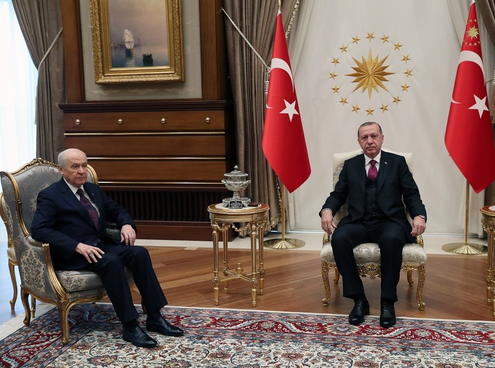 President Recep Tayyip Erdou011fan met with MHP Chairman Devlet Bahu00e7eli in Ankara, yesterday.