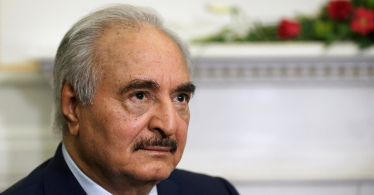 Libya's commander Khalifa Haftar meets Greek Foreign Minister Nikos Dendias (not pictured) at the Foreign Ministry in Athens, Greece, January 17, 2020. (Reuters Photo)