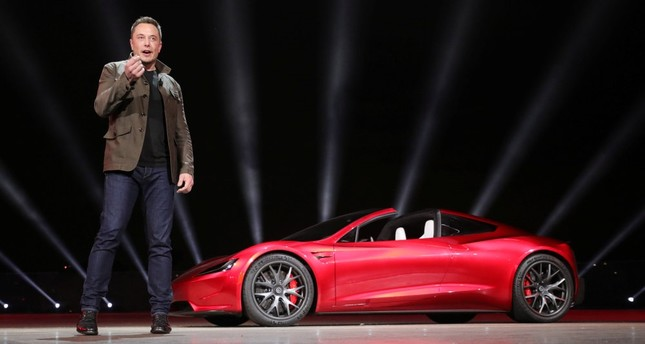 Tesla CEO Elon Musk unveils the Roadster 2 during a presentation in Hawthorne, California, Nov. 16.