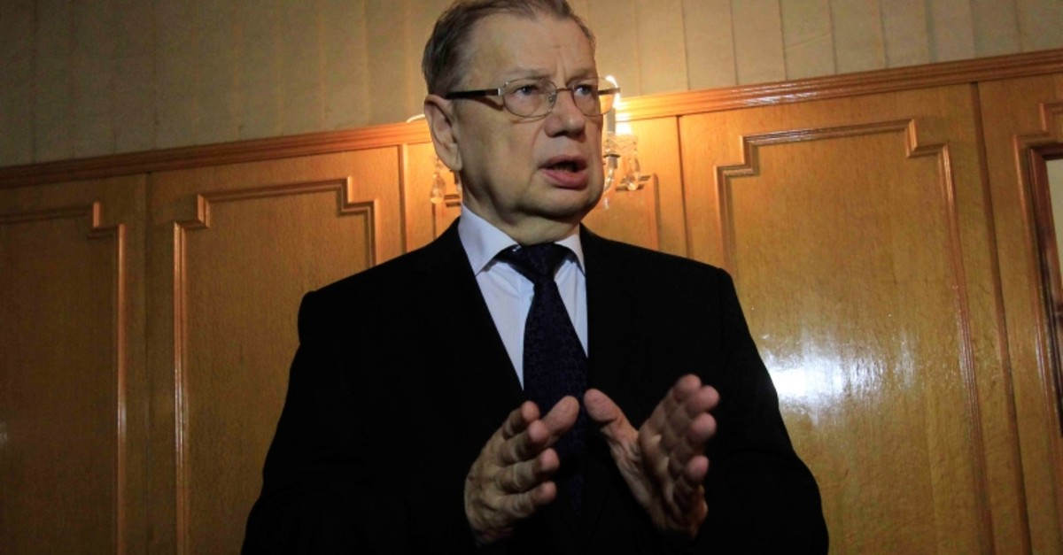In this Nov. 1, 2015 file photo, Russian Ambassador to Egypt, Sergei Kirpichenko speaks to journalists, at the Russian Embassy in Cairo, Egypt. (AP Photo)