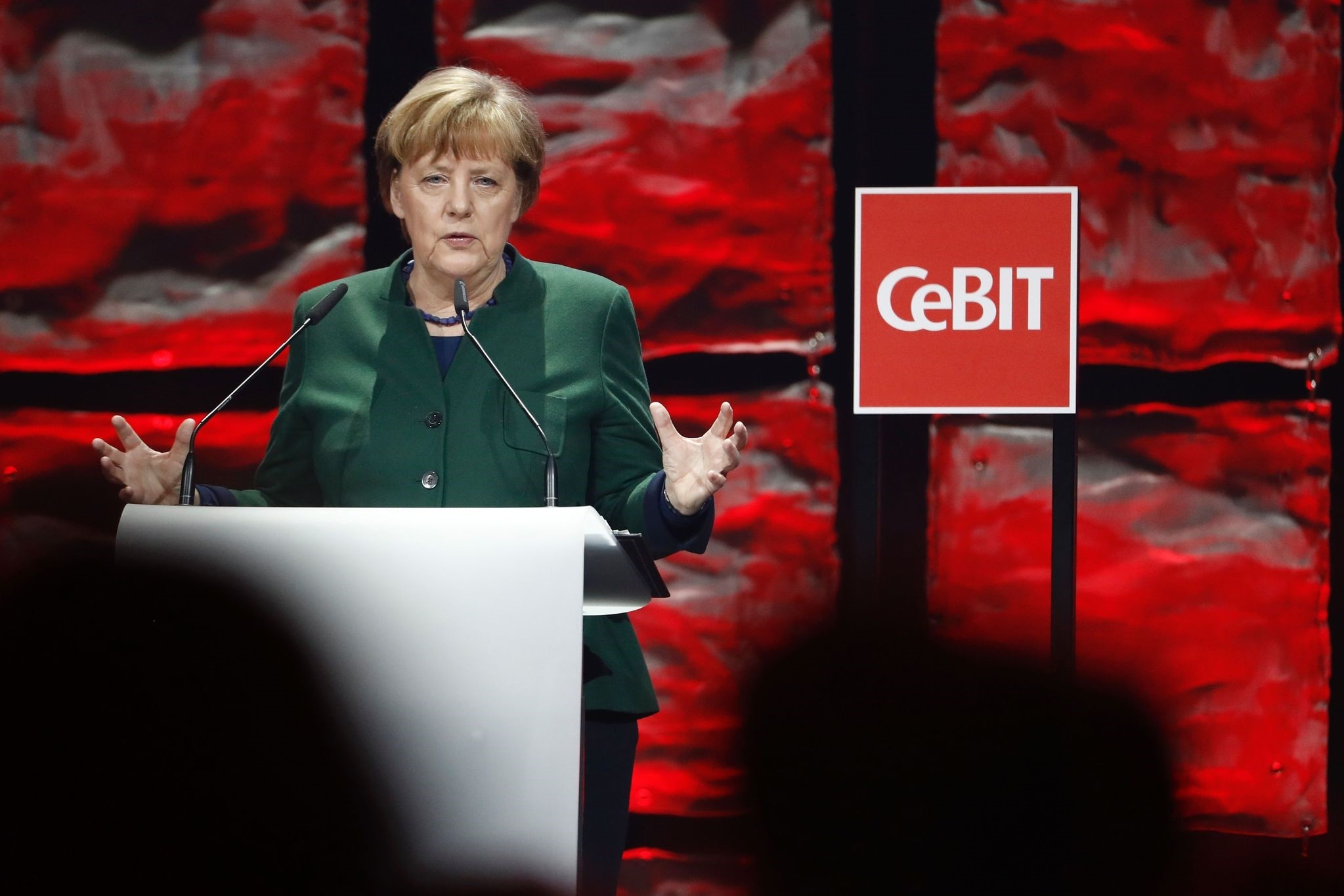 Merkel delivers her speech at the official opening of the CeBIT technology fair in Hanover, central Germany, on March 19, 2017. (AFP Photo)