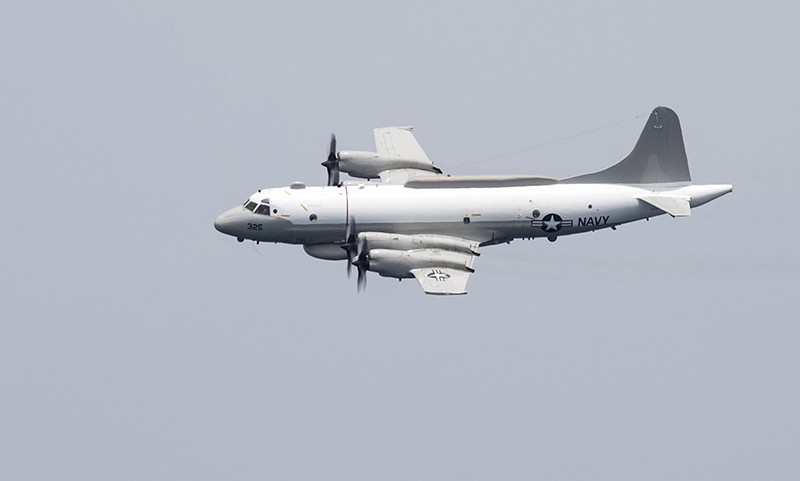A handout photo made available by the US Navy shows a US EP-3E Aries signals intelligence aircraft in the Arabian Gulf, April 24, 2016. (EPA Photo)