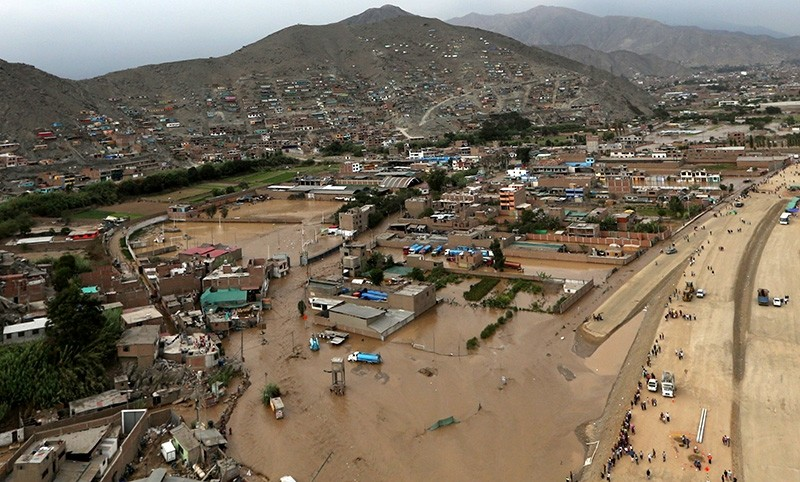 Aerial view after a massive landslide and flood in the Huachipa district of Lima, Peru, March 17, 2017. (Reuters Photo)