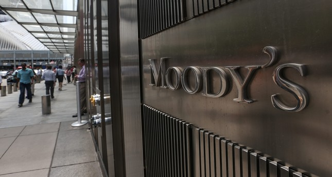 A Moody's sign on the company's corporate headquarters in New York City.