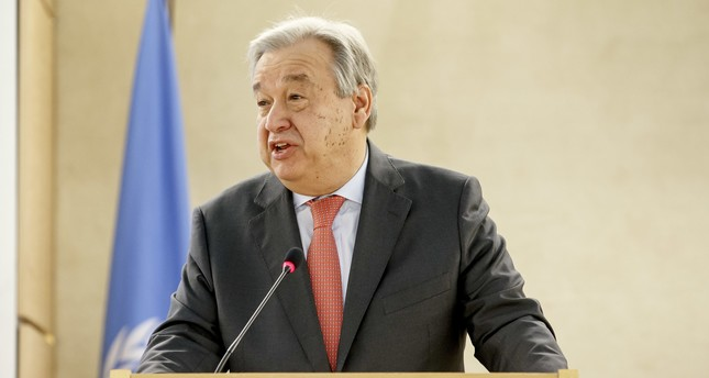 U.N. Secretary-General Antonio Guterres delivers his statement during the opening of the 34th session of the Human Rights Council, at the European headquarters of the United Nations in Geneva, Switzerland, Monday, Feb. 27, 2017. (AP Photo)