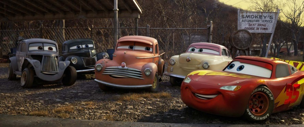 Lightning McQueen (R) faces newer and faster cars in the last movie.