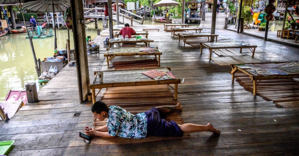 This photograph taken on February 12, 2020 shows the empty food court of the Floating Market in Pattaya. (AFP Photo)