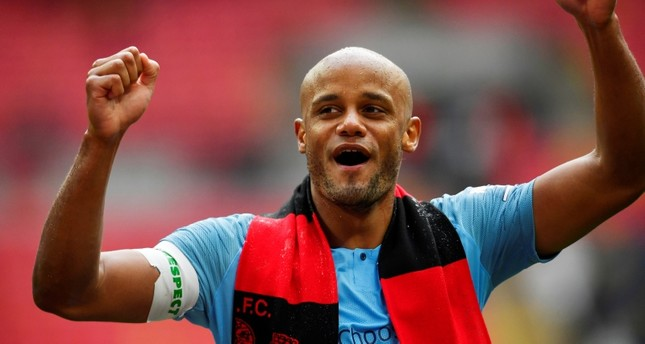 Manchester City's Vincent Kompany celebrates winning the FA Cup final against Watford at Wembley Stadium, London, U.K., May 18, 2019. (Reuters Photo)