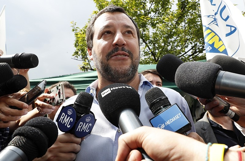 In this Saturday, May 19, 2018 file photo, the League party leader, Matteo Salvini, meets reporters in Milan, Italy. (AP Photo)